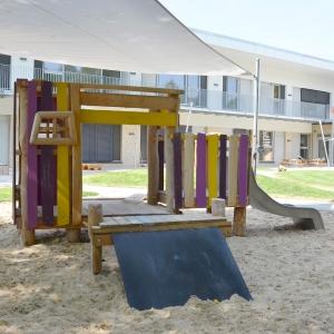 kita, spielplatz, spielanlage, robinie, playground, multi unit, robinia, holz, wood, U3