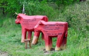 holz, wood, robinie, robinia, spielplatz, playground, skulptur, sculpture, kuehe, cows