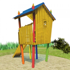 holz, wood, robinie, robinia, spielplatz, playground, spielhaus auf stelzen, playhouse on stilts, buntstift, coloured pencil