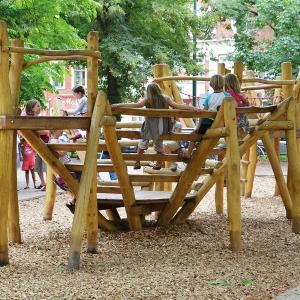 holz, wood, robinie, robinia, spielplatz, playground, spielanlage, multi unit, spinne, spider