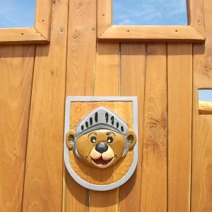 holz, wood, robinie, robinia, spielplatz, playground, spielanlage, multi unit, burg, castle, baer, bear, wappen, heraldic sign