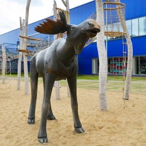 holz, wood, robinie, robinia, spielplatz, playground, spielskulptur, play sculpture, elch, moose