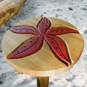 holz, wood, robinie, robinia, spielplatz, playground, backtisch, baking table, seestern, starfish